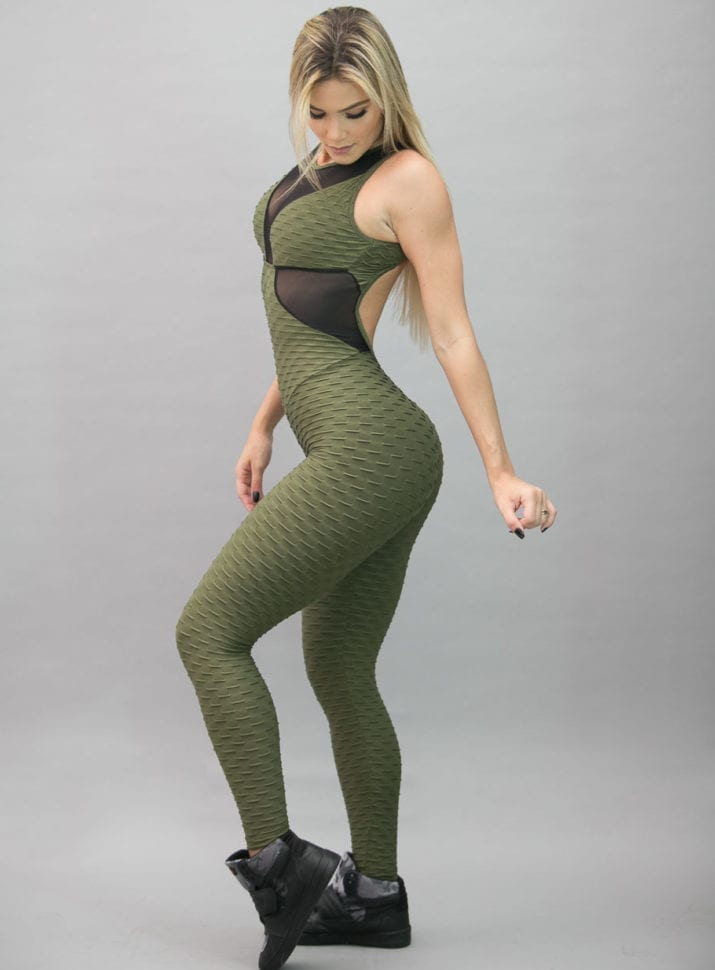 BFB Jumpsuit - Jacquard Green Detail in Tule - One Piece