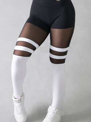Legging Striped Socks Pants – (Black & White)