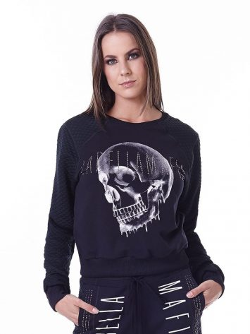LabellaMafia Glam Rock Skull Sweatshirt Cropped – MTP16150