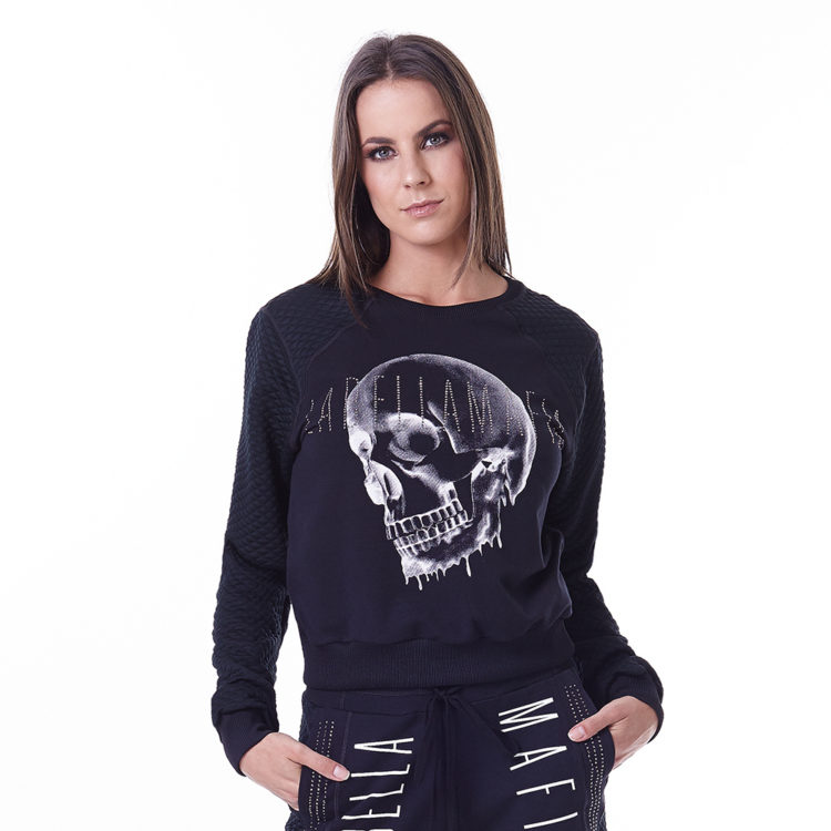 LabellaMafia Glam Rock Skull Sweatshirt Cropped - MTP16150