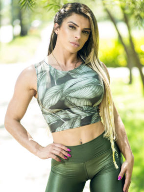 DYNAMITE BRAZIL Crop Tank Top – Green Leaves Blouse