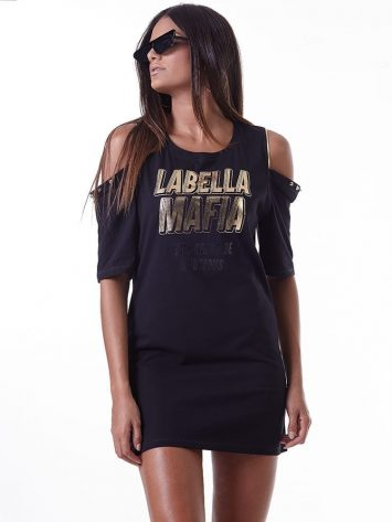LabellaMafia Dress MVT16182 Dark Metal Striped Dress