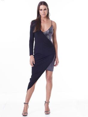 LabellaMafia Dress MVT16201 Metallic Black Lux