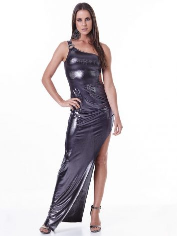 labellamafia metallic gray dress