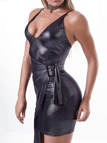 LabellaMafia Dress MVT16127 Metallic Gray Night