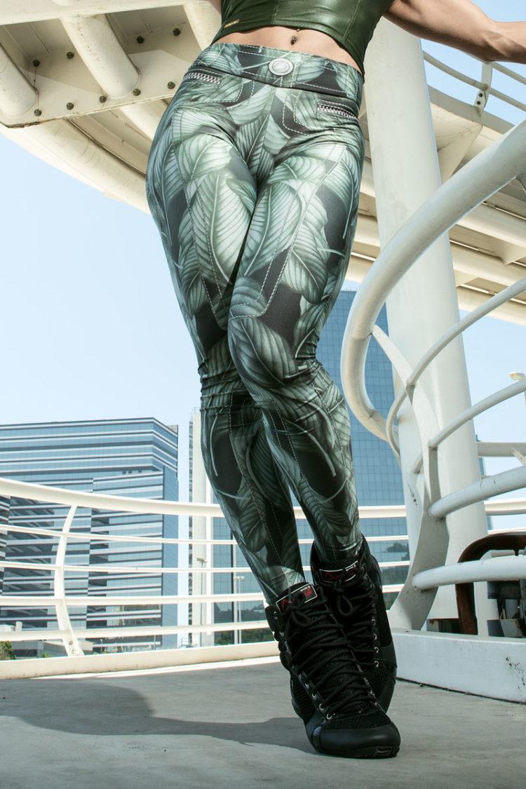 DYNAMITE BRAZIL Leggings L400 Green Leaves - Sexy Leggings