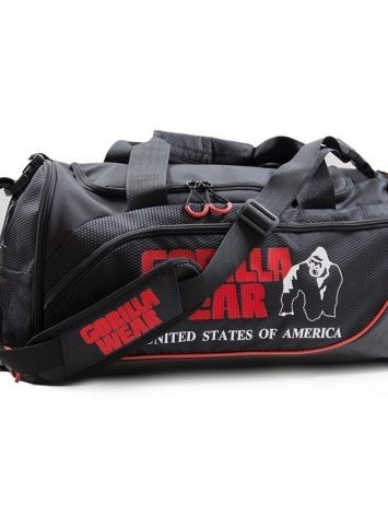 "Jerome Gym Bag – Black/Red  Once again Gorilla Wear has proven to be the best of the best and this has been true since 1982. The new Men`s Gorilla Wear duffel bag is made of ultra-durable fabric and has plenty of pockets to keep your gym gear organized and secure. Furthermore, it offers the user immense storage and protection. In addition, it has a removable adjustable shoulder strap and dual handles for the benefit of versatile carrying options. Lastly, the main zip compartment and side pockets for extra storage space can be used to store bigger items if needed. It's time to show the people that you are a member of the GORILLA WEAR Family.  About Gorilla Wear Since the 80's Gorilla Wear is a legendary American worldwide bodybuilding and fitness lifestyle brand ""for the motivated"". Every style of apparel is designed for motivated and demanding athletes everywhere in the World. It is unique, it will fit, it will not break down and it will give you the authentic and individual look your body deserves!  Art. No. 9911090500 Color: Black/ Red  Quality: 100% Polyester"