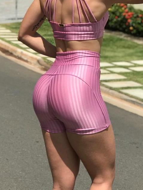BFB Shorts- Cirre 3D Metalizada - Empina Bumbum - Pink Bebe