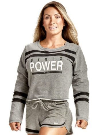 OXYFIT Blusa Power Top 50146 Mescla/Black – Long Sleeves