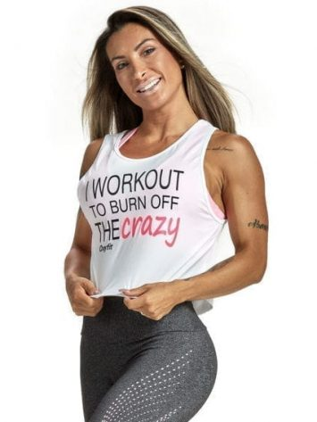 OXYFIT Tank Top Cropped Burn 46451 White – Sexy Workout Tops