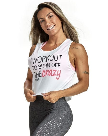 OXYFIT Tank Top Cropped Burn 46451 White - Sexy Workout Tops
