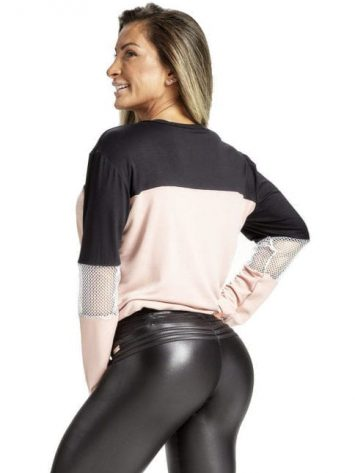 OXYFIT Blusa City 50145 Nude/Black – Long Sleeve w/Mesh