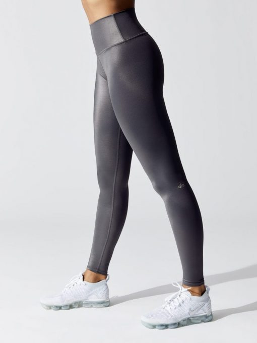 ALO Yoga High Waist Shine Airbrush Legging - Anthracite shine