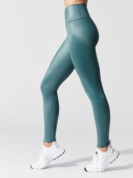 ALO Yoga High Waist Shine Airbrush Legging - Seagrass Shine