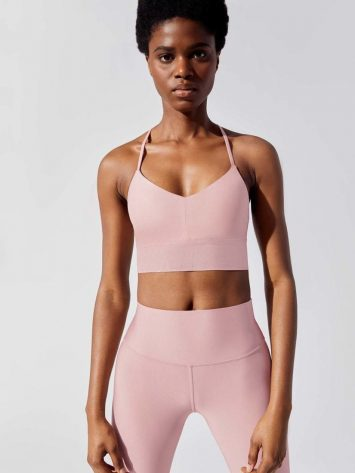 ALO Yoga Lush Sports Bra – Pale Mauve