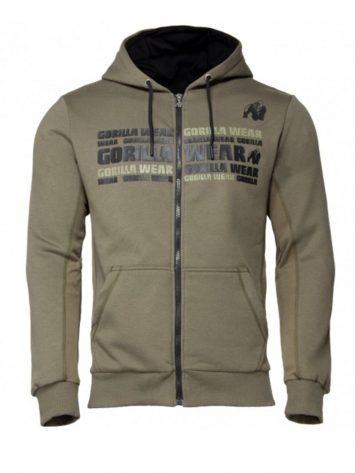Gorilla Wear Bowie Mesh Zipped Hoodie – Army Green
