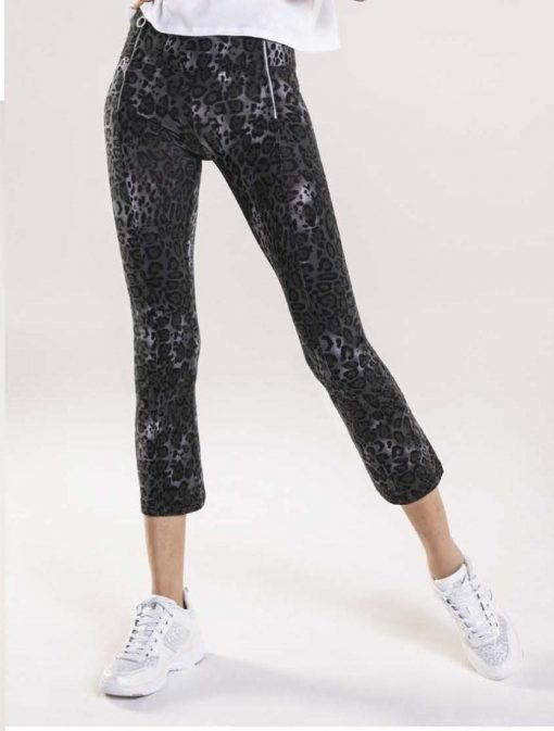 FREDDY WR.UP Evolution Wrup Snug Leopard Print Pants - Dark wash