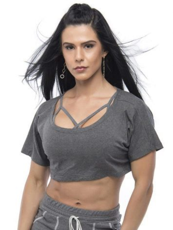 BFB Activewear Cropped Top Stylish loose fit – gray