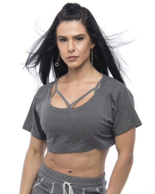 BFB Activewear Cropped Top Stylish loose fit - gray