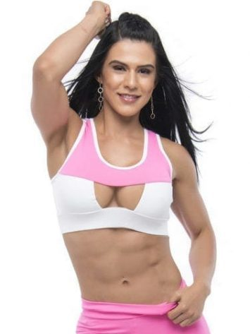 BFB Activewear Sports Bra Top Strong rosa- Pink/White