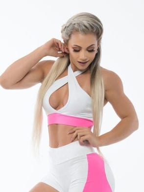BFB Activewear Sports Bra Top Frente Unica – Pink/White