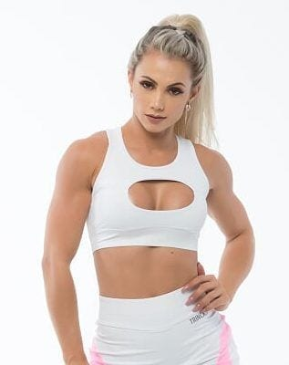BFB Activewear Sports Bra Top Over Boll – White