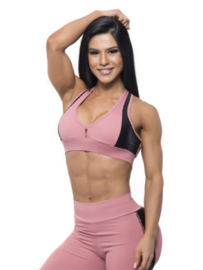 BFB Activewear Sports Bra Top Gym Rose – Rose/Black