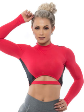 BFB Activewear Cropped Top Intense Long Sleeve – Red