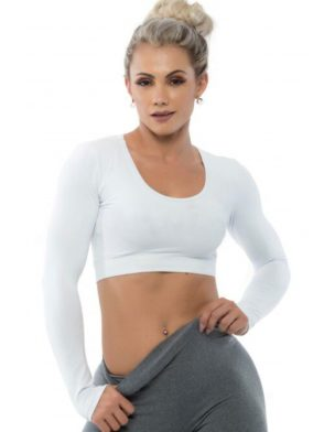 BFB Activewear Cropped Top Long Sleeve – White