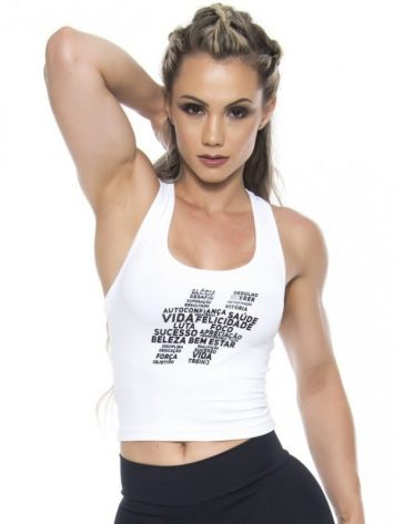 BFB Activewear Tank Top Cropped Hastag – White