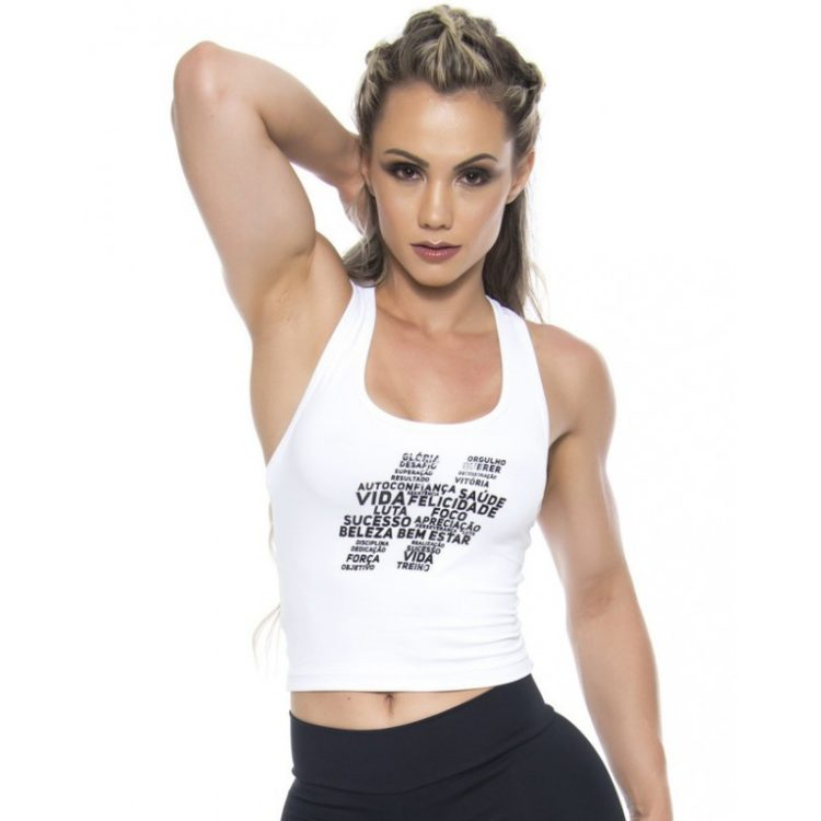 BFB Activewear Tank Top Cropped Hastag - White
