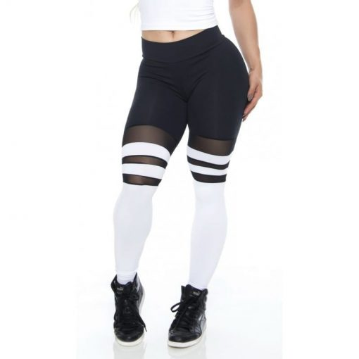 BFB Activewear Striped Leggings College Black & White Tulle
