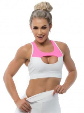 BFB Activewear Sports Bra Top Over Boll – Pink/White
