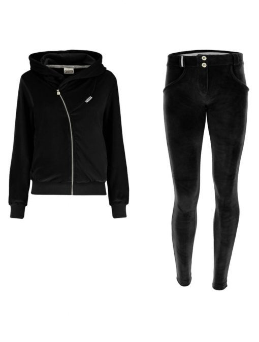 FREDDY WR.UP Chenille Tracksuit with with a hood and pants-BLACK