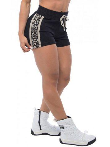 BFB Activewear Shorts Oncinha Jaguar Print – Gray/Black