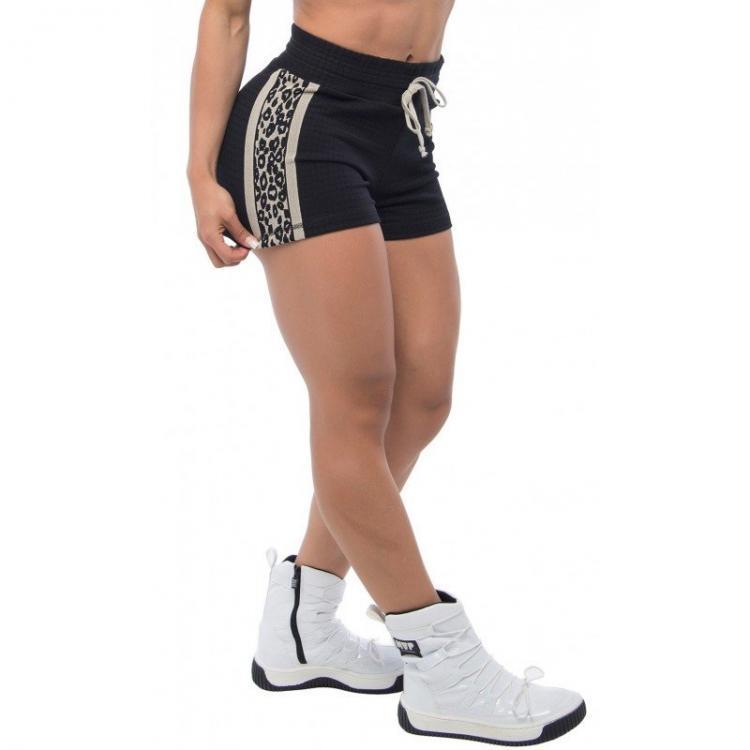 BFB Activewear Shorts Oncinha Jaguar Print - Gray/Black
