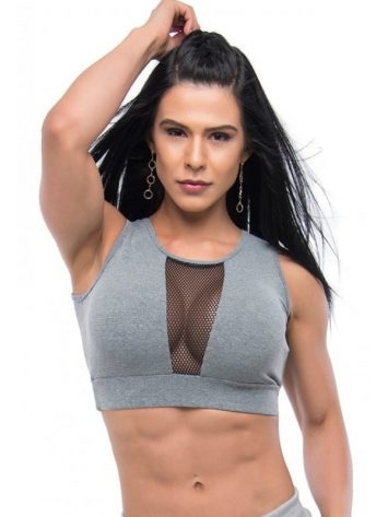 BFB Activewear Sports Bra Crop Top Strip – Gray