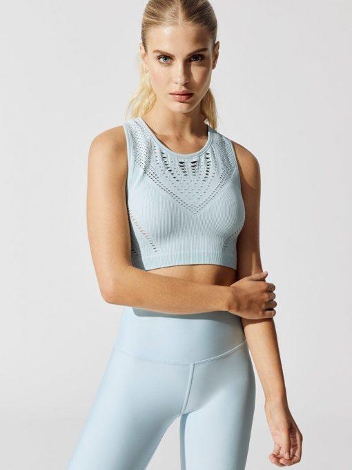 ALO Yoga Lark Crop Top -Sexy Yoga Tops - Powder blue heather