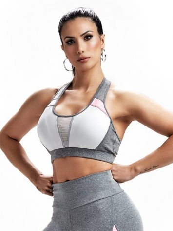 Sports Bra Top Repeat 27243 Gray Heather White – Sexy Sports Bra