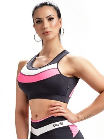 Sports Bra Top Streak 27246 Black Rosa Yogurte – Sexy Sports Bra