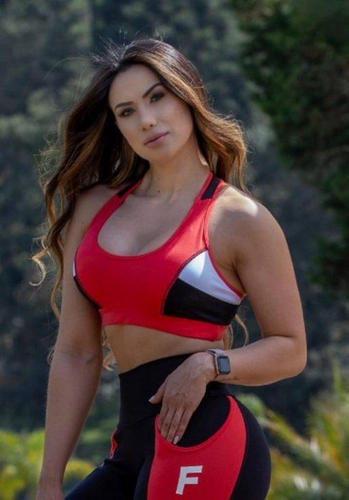 Oxyfit Sports Bra Top Cheer 27260 Red White Black