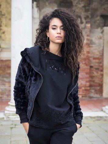 FFREDDY Athletic Life Jacket in Faux Fur F8WALJ1 – Black