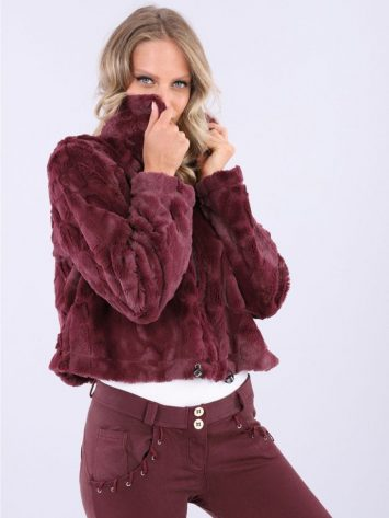 FREDDY Top WR.UP Jacket in Faux Fur F9WTWS6 – Burgundy