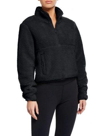 ALO Yoga Shanti Half Zip Sherpa Jacket Black