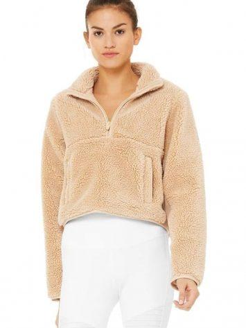 ALO Yoga Shanti Half Zip Sherpa Jacket Camel