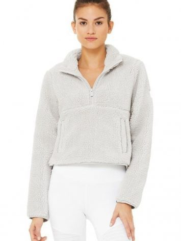 ALO Yoga Shanti Half Zip Sherpa Jacket Dove