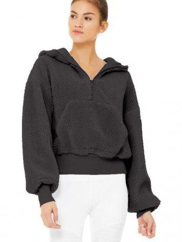 ALO Yoga Streetside Half Zip Sherpa Hoodie Jacket Black