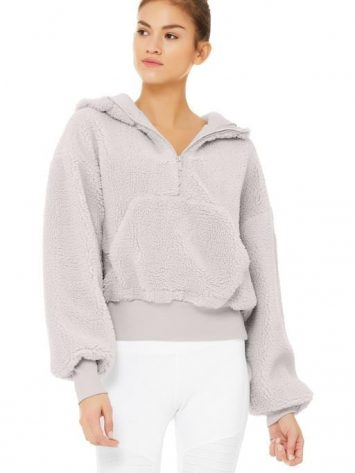 ALO Yoga Streetside Half Zip Sherpa Hoodie Jacket Dove Grey