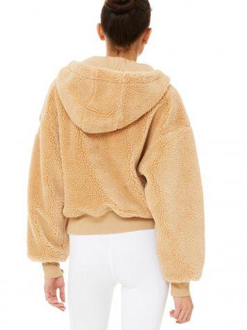 ALO Yoga Streetside Half Zip Sherpa Hoodie Jacket Camel