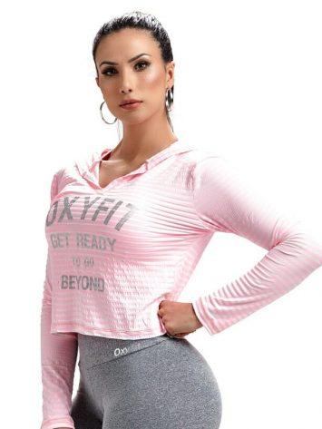 OXYFIT Sweat Jacket Blusa Get 46465- Hoody Crop – Rosa